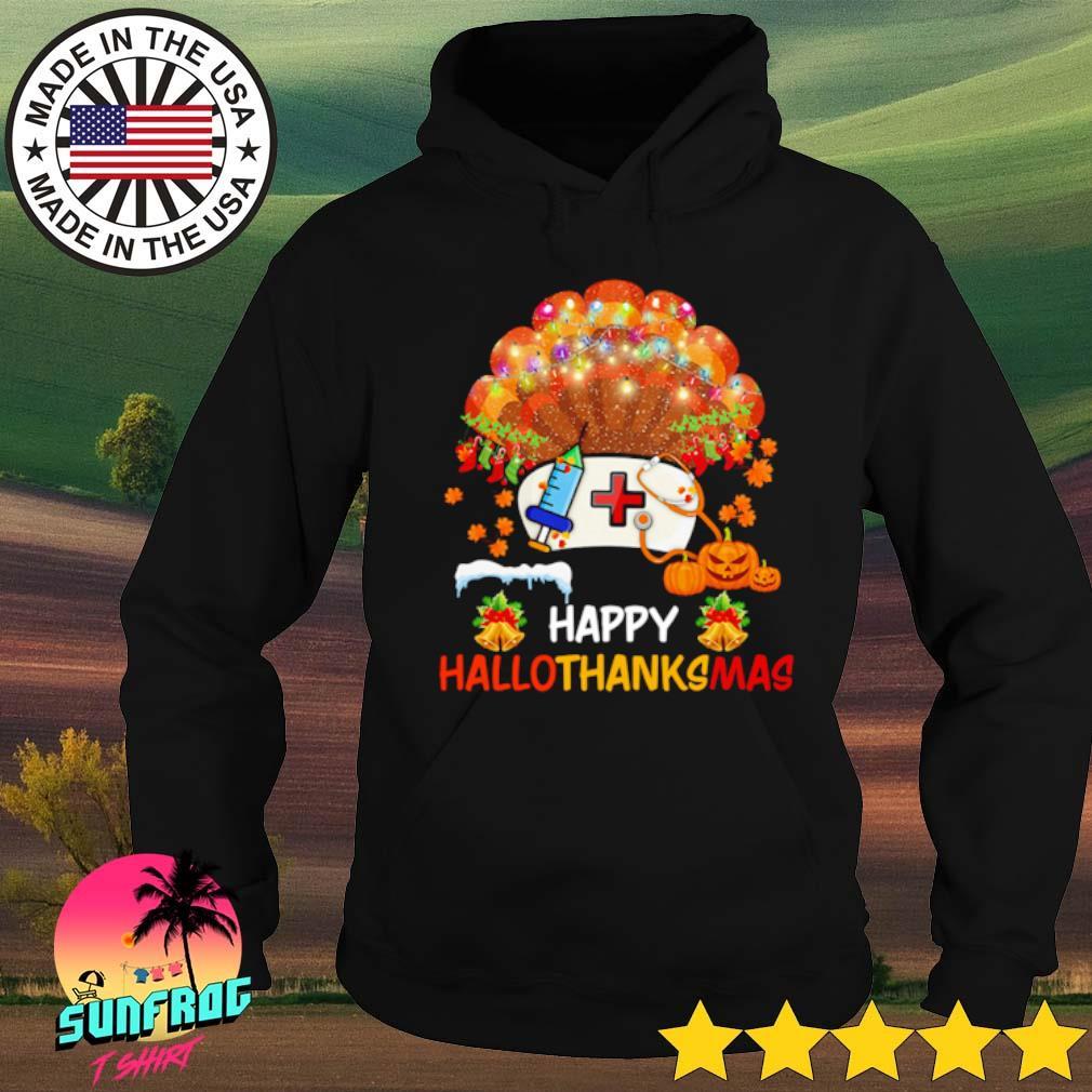 Pearl nurse happy hallothanksmas Halloween Thanksgiving and Christmas s Hoodie Black