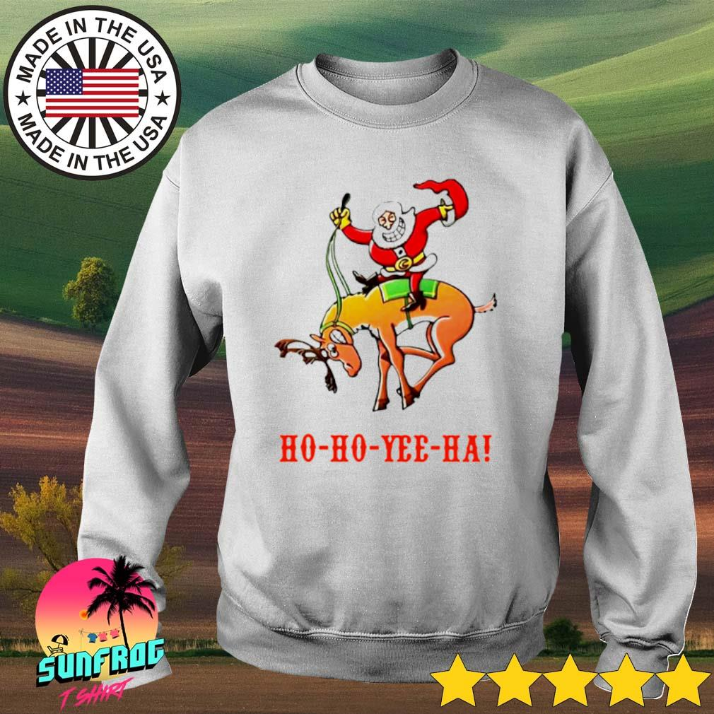 Santa Claus riding reindeer Ho Ho Yee Ha Christmas sweater