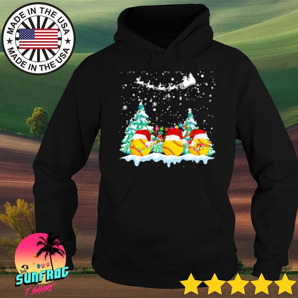 Softball Santa hat snow merry Christmas sweater Hoodie