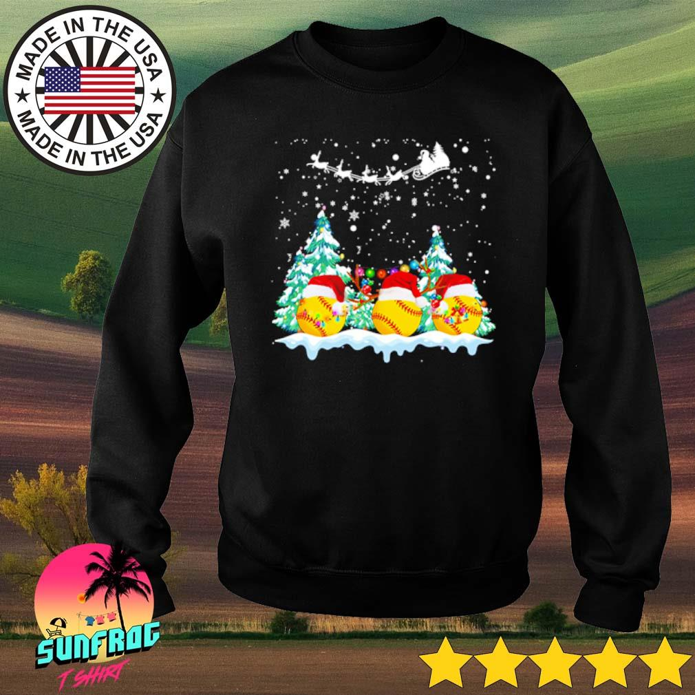 Softball Santa hat snow merry Christmas sweater