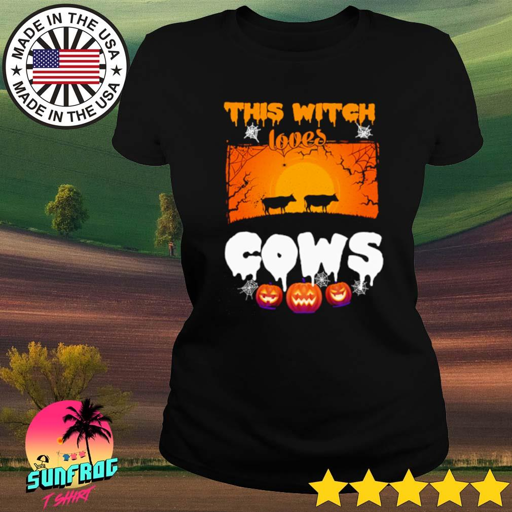This witch loves cows Halloween s Ladies tee