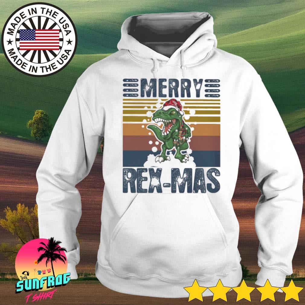 Vintage dinosaur Merry Rex-Mas Santa hat Christmas sweater Hoodie