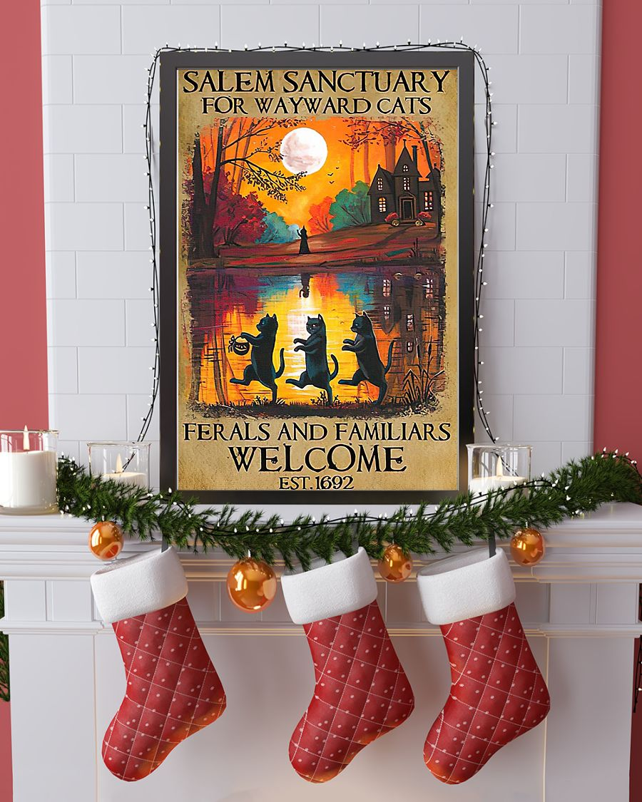Black cat salem sanctuary for wayward cats ferals and familiars welcome est 1692 poster