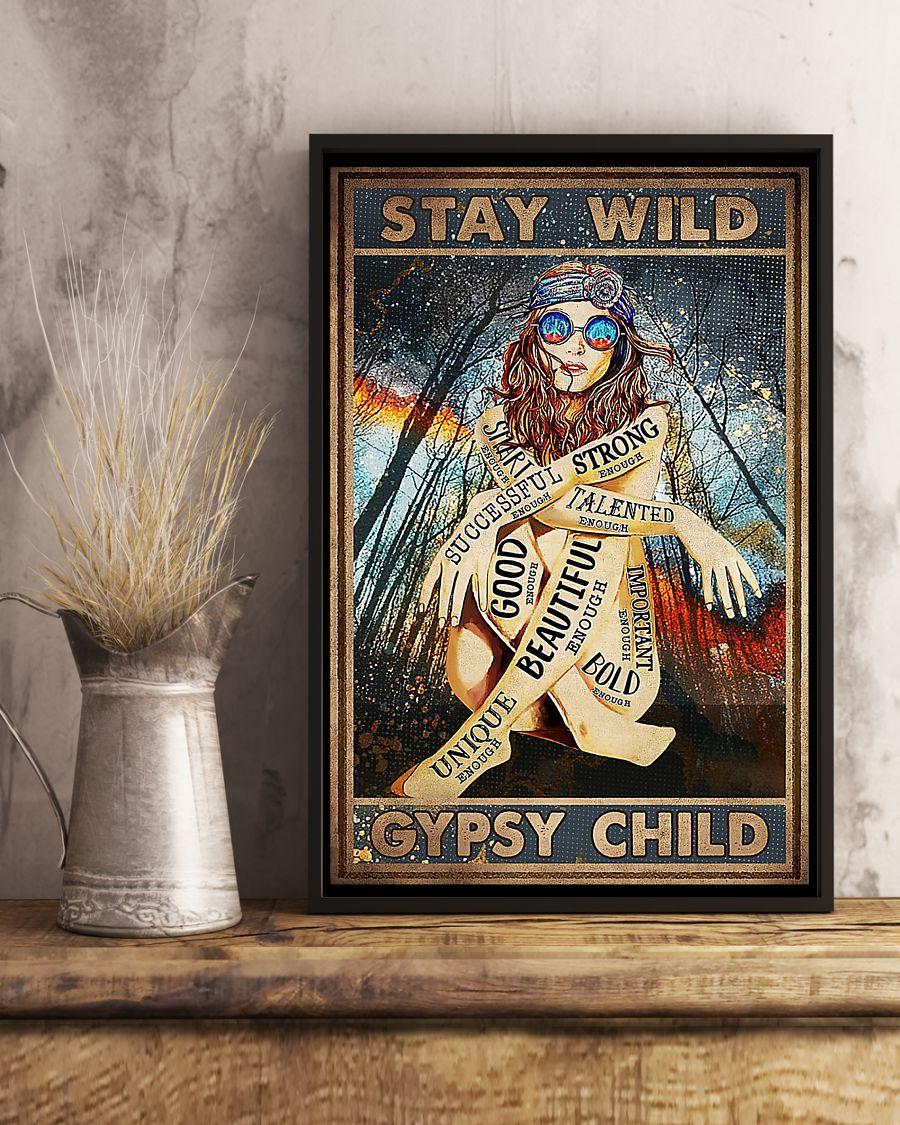 Girl tattoos hippie stay wild gypsy child poster
