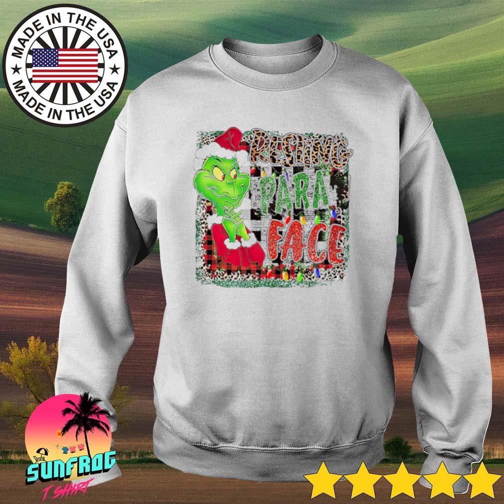 Grinch Santa hat Christmas resting para face sweater