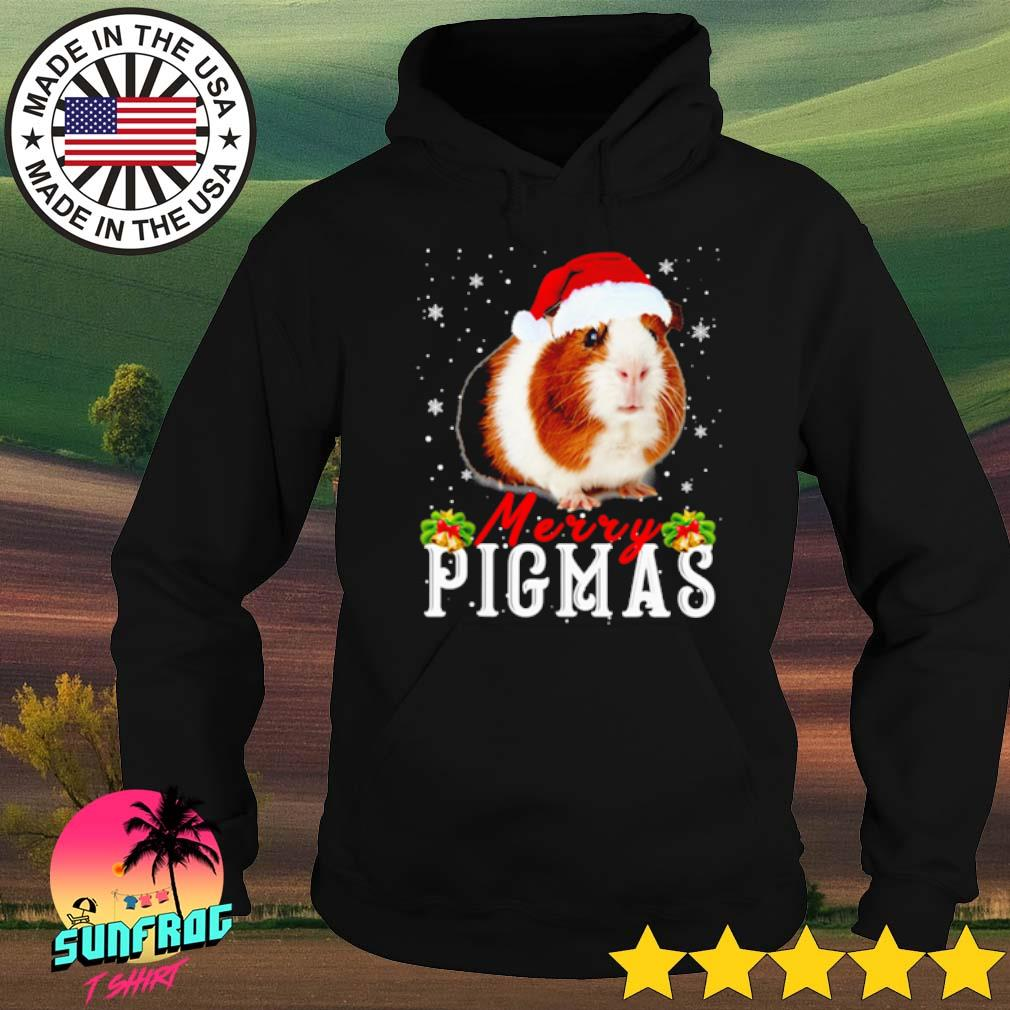 Merry Pigmas face Guinea Pig Santa hat Christmas sweater Hoodie