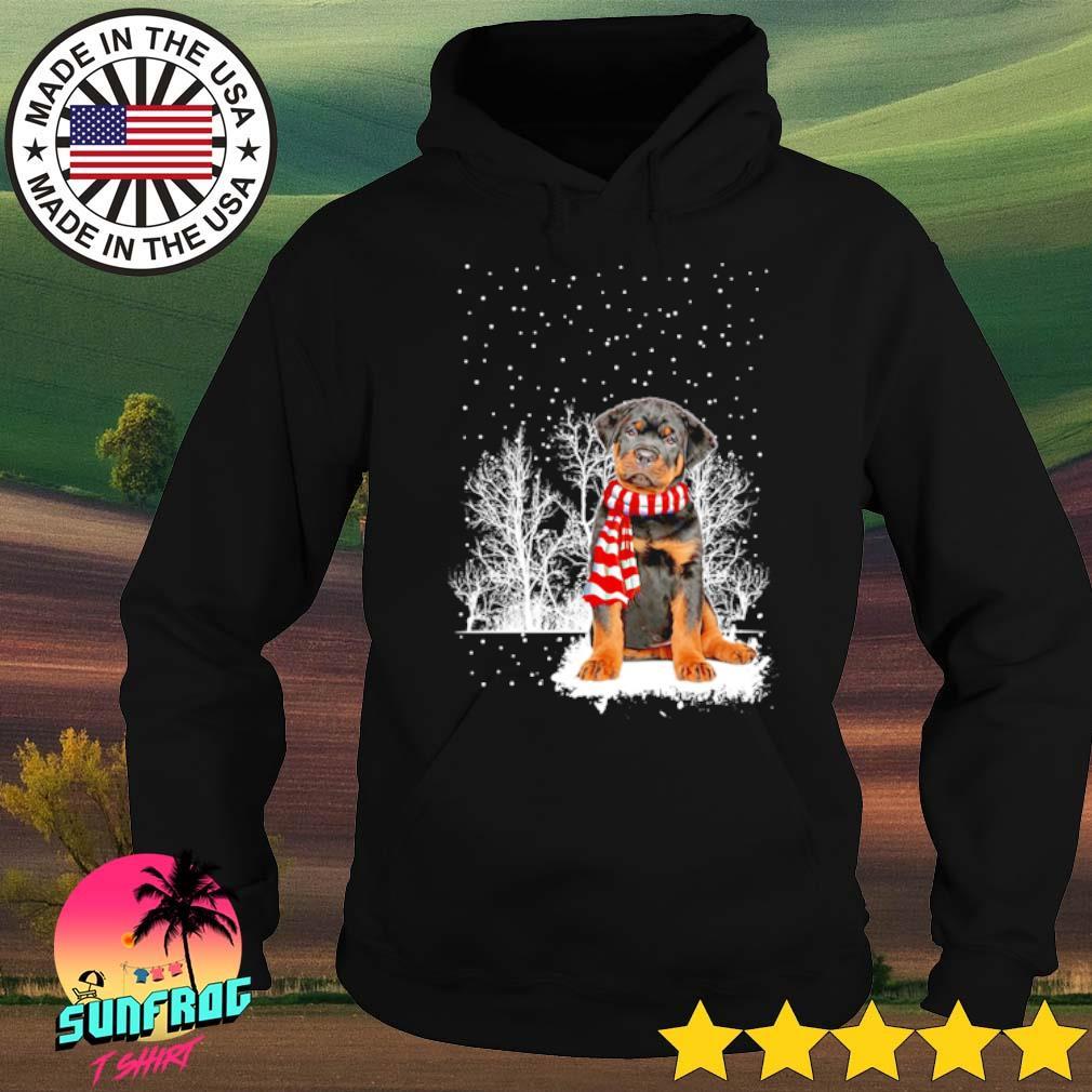 Rottweiler wearing red scarf winter Christmas sweater Hoodie