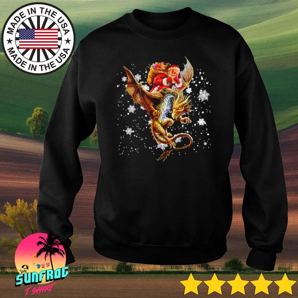 Santa Claus riding dragon Christmas sweater