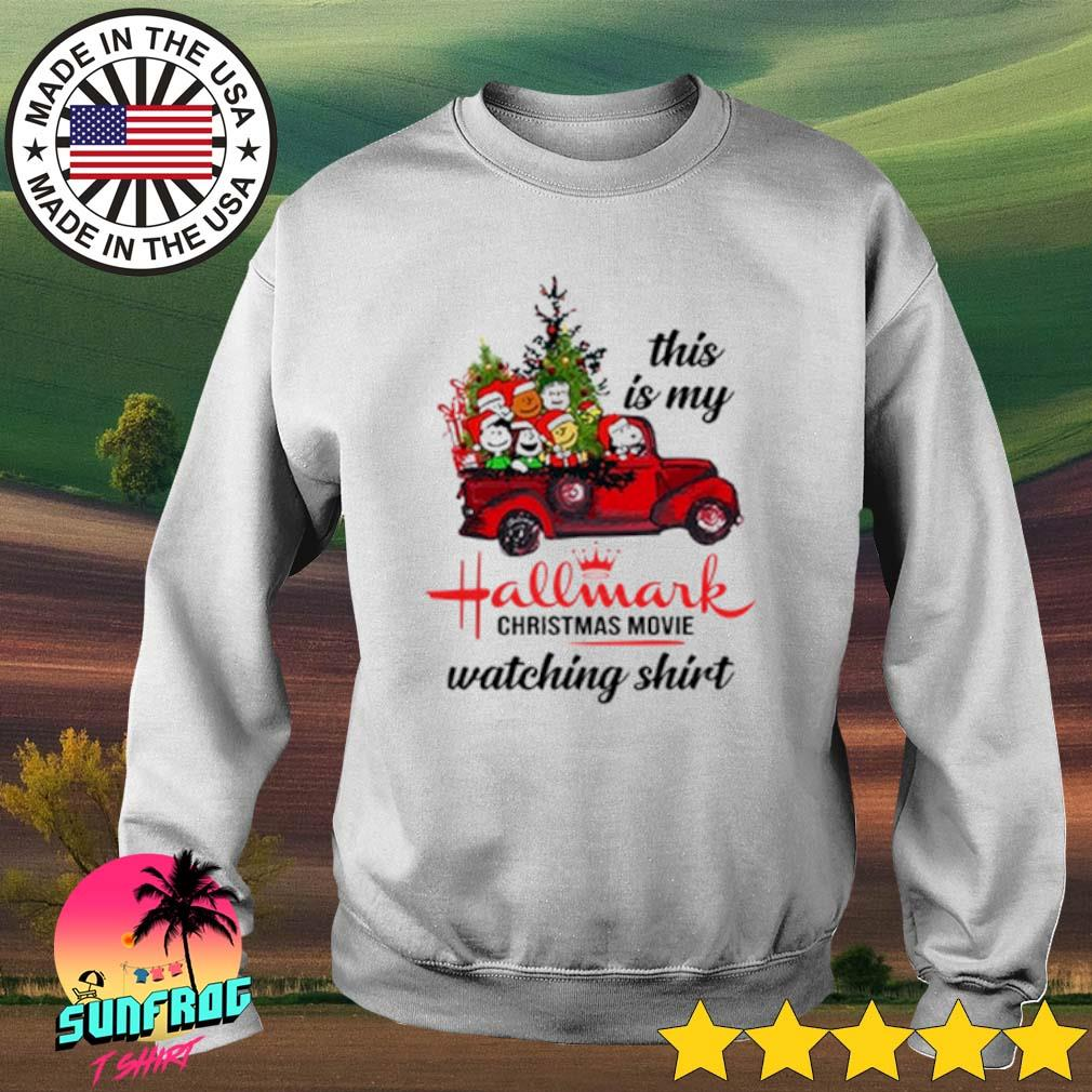 The Peanuts Snoopy driving red truck this is my hallmark Christmas movie watching sweater